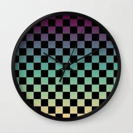 Color Gradient Checker Pattern Wall Clock