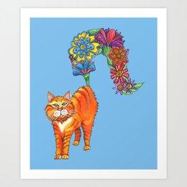 Classy Cat Chloe (Blue) Art Print