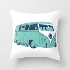 Retro Blues VW Camper Van / Kombi / Volkwagen Throw Pillow