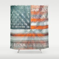 flag Shower Curtains featuring American flag by Bekim ART