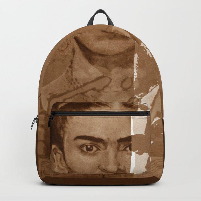 Frida Kahlo - between worlds - sepia Backpack