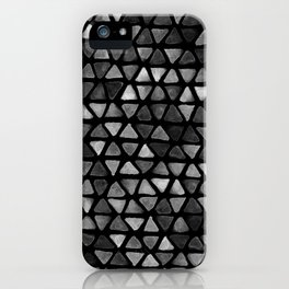 Triangle Watercolor Seamless repeating Pattern - Black and White iPhone Case