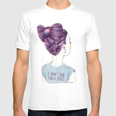i don't owe you a smile White MEDIUM Mens Fitted Tee