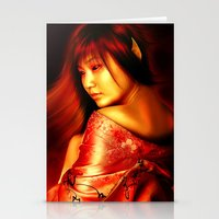 arya Stationery Cards featuring Empress of Jigoku by TS95 Studios