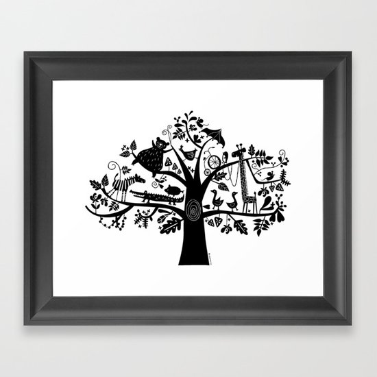 :) animals on tree Framed Art Print