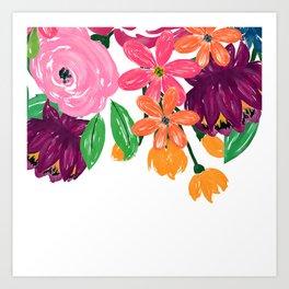 Boho Chic Watercolor Burgundy Pink Flowers Art Print