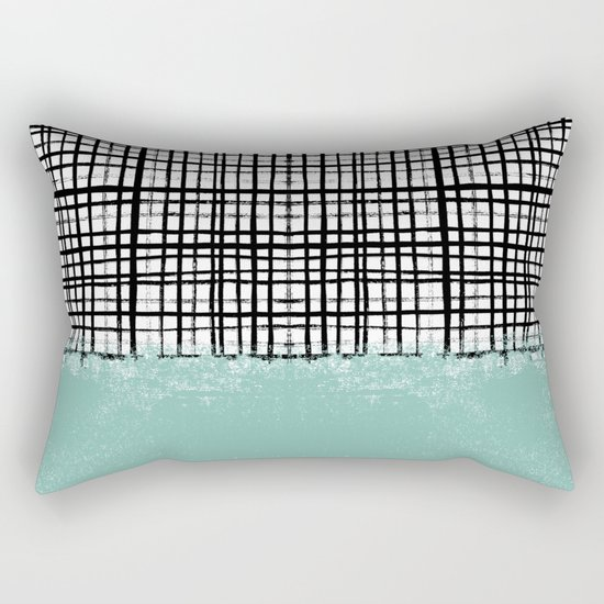 Mila - Grid and mint -  paint, art, artist cell phone case, grid phone case Rectangular Pillow