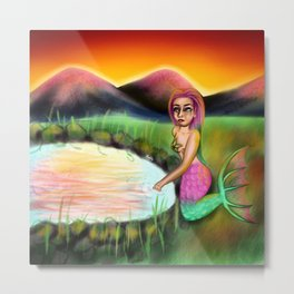 Sunset Mermaid Metal Print