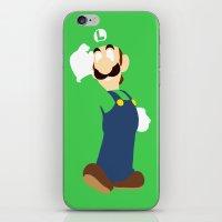 luigi iPhone & iPod Skins featuring Luigi by Valiant