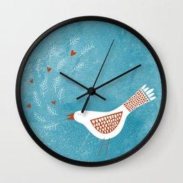 Scandinavian Bird with Hearts Wall Clock
