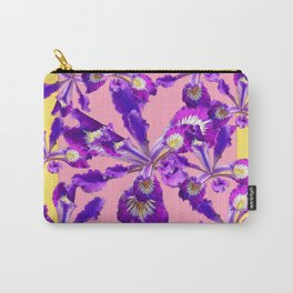Abstract Purple Dutch Iris Floral Garden Yellow-Pink Carry-All Pouch