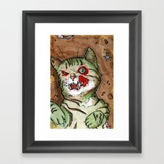 Green Snarly Zombie Cat Framed Art Print