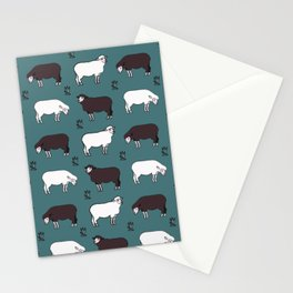 Sheep spread green Stationery Cards