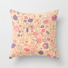 Vintage Mushroom Pattern Throw Pillow