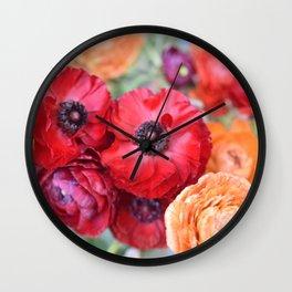 Rosey Ranunculus Wall Clock