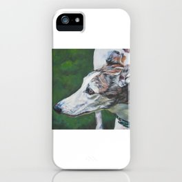 Greyhound dog art portrait from an original painting by L.A.Shepard iPhone Case