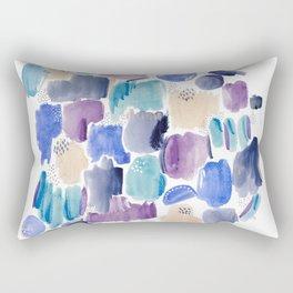 Marking making abstract pattern - deep blue purple peach and teal Rectangular Pillow