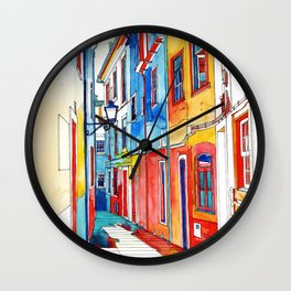 Coloring book Southern Europe Cities: Coimbra colored Wall Clock