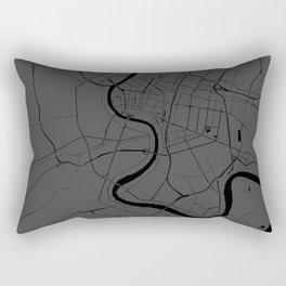 Bangkok Thailand Minimal Street Map - Gray and Black Rectangular Pillow