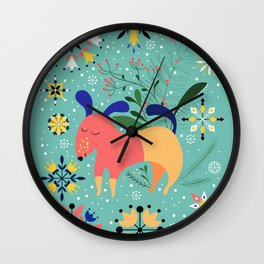 Happy Dog Card Wall Clock