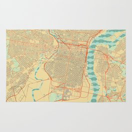 Philadelphia Map Retro Rug