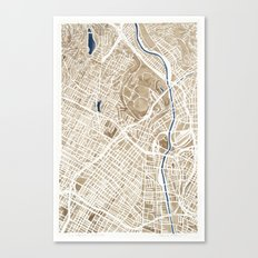 Los Angeles California City Map Canvas Print