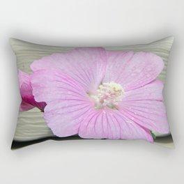 Pink Musk Mallow Pollen Overflow Rectangular Pillow