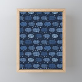Indigo blue graphic oval textured dots seamless pattern. Framed Mini Art Print