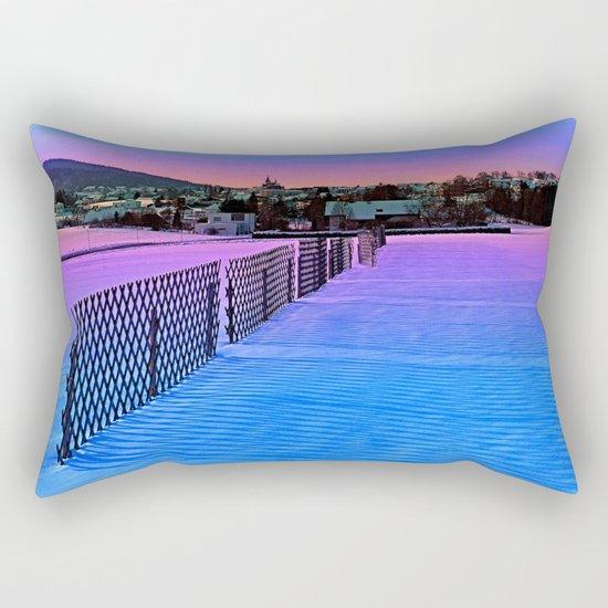 Fences on a winter sundown Rectangular Pillow