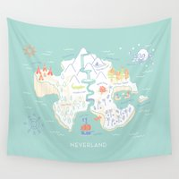neverland Wall Tapestries featuring Neverland Map Full Color by Merlin
