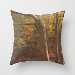 New England Fall Woods Throw Pillow