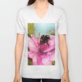 Bee on flower 17 Unisex V-Neck