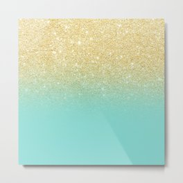 Modern chic gold glitter ombre robbin egg blue color block Metal Print