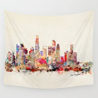 los angeles Wall Tapestries featuring los angeles california  by bri.buckley