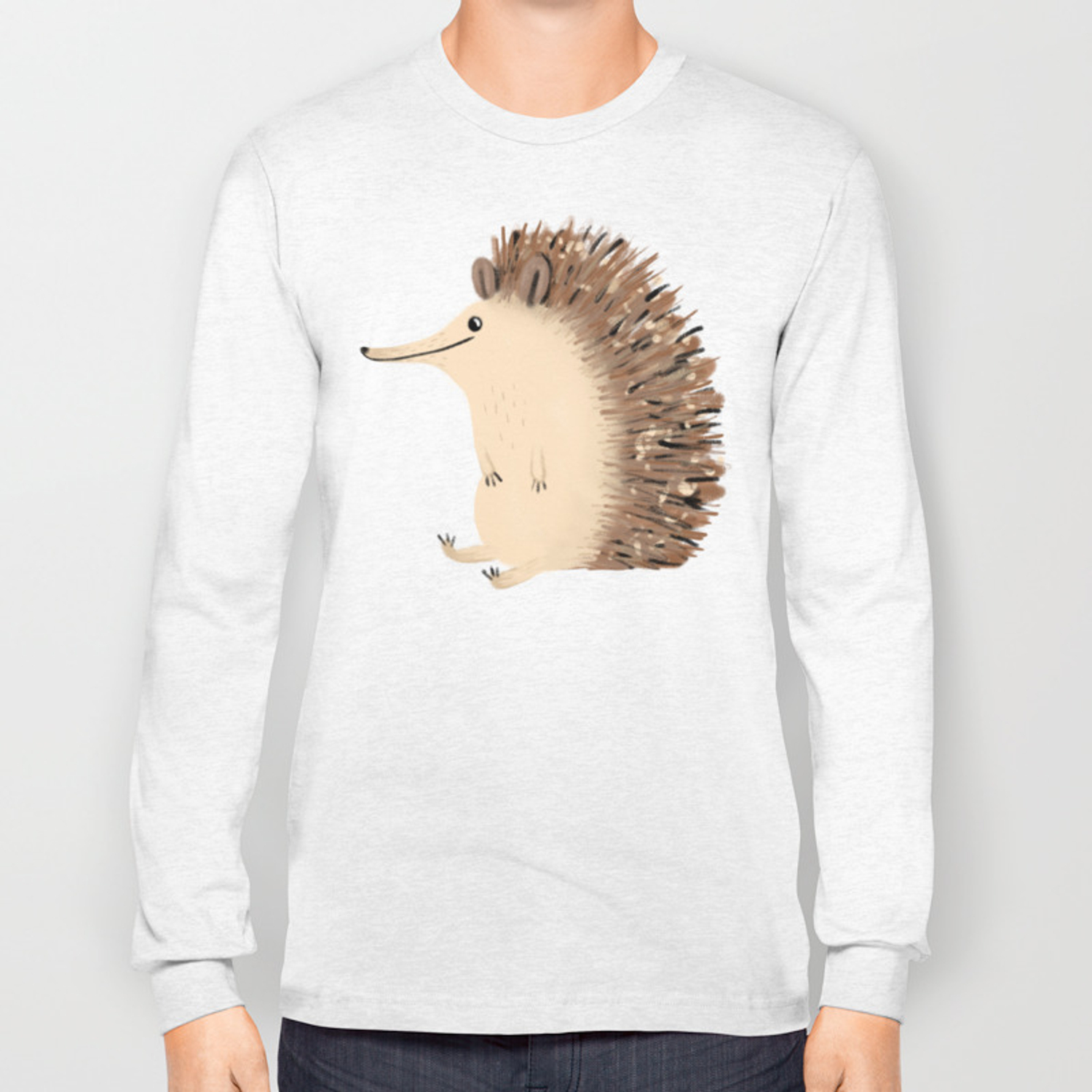Happy Hedgehog Sketch Long Sleeve T-shirt by sophiecorrigan