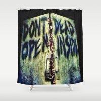 walking dead Shower Curtains featuring Walking Dead Dont Open by Joe Misrasi
