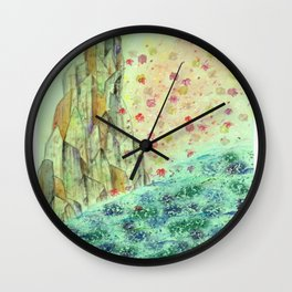 Rock of Fallen Blossoms Wall Clock