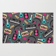 Jazz music instruments and sounds pattern Rug