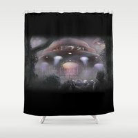 contact Shower Curtains featuring Contact by Mike Shachook