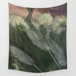 Vintage Narwhal Painting (1909) Wall Tapestry