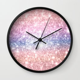 Pastel Galaxy Sparkle Stars Wall Clock