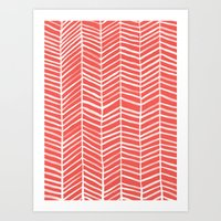 coral Art Prints featuring Coral Herringbone by Cat Coquillette