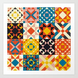 Maroccan tiles pattern with red an blue no2 Art Print