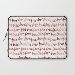Love Script Rose Gold Typography Pattern 3 Laptop Sleeve