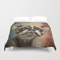 french Duvet Covers featuring French bulldog, french flag ! by Life on White Creative