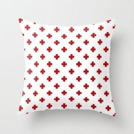 Red Swiss Cross Pattern Throw Pillow