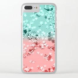 Summer Vibes Glitter Stars #1 #coral #mint #shiny #decor #art #society6 Clear iPhone Case