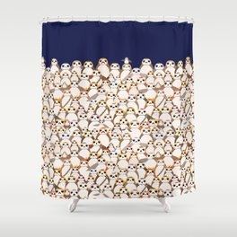 Galactic Penguins On Navy Shower Curtain