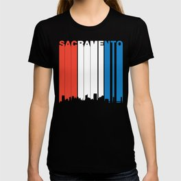 Red White And Blue Sacramento California Skyline T-shirt