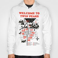 map Hoodies featuring Twin Peaks Map by Robert Farkas